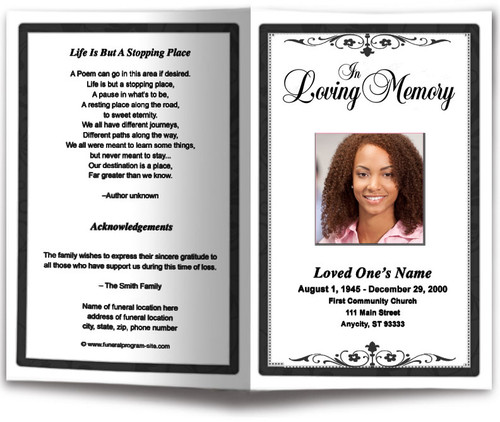 black Fuschia Funeral Program Template