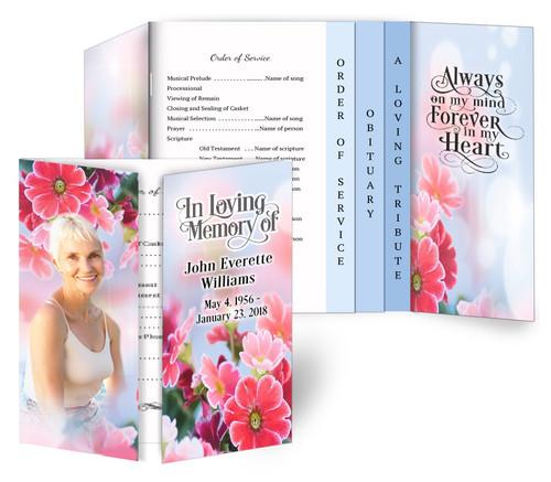 Blooming Gatefold/Graduated Combo Funeral Program Design & Print (Pack of 25)