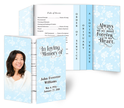 Soft Blue Gatefold/Graduated Combo Funeral Program Design & Print (Pack of 25)