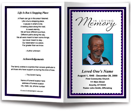 black Gallant Funeral Program Template