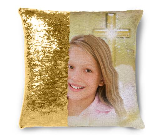 Adoration Memorial Magic Swipe Reversible Mermaid Sequin Pillow