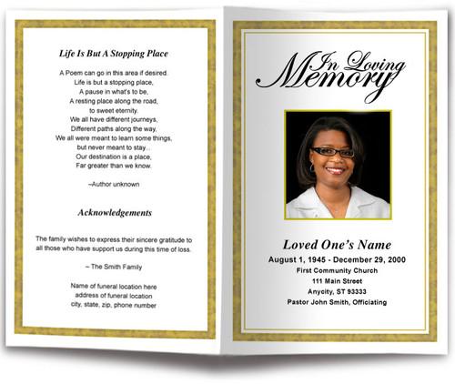 gold Goldenrod Funeral Program Template