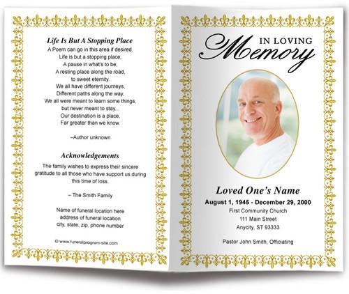 gold Lexington Funeral Program Template