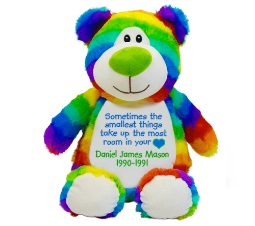 Child Rainbow Teddy Memorial Stuffed Animal Urn