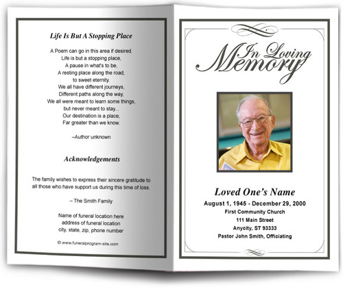 black Madison Funeral Program Template