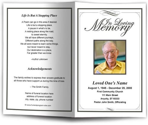 black Madison Funeral Program Template