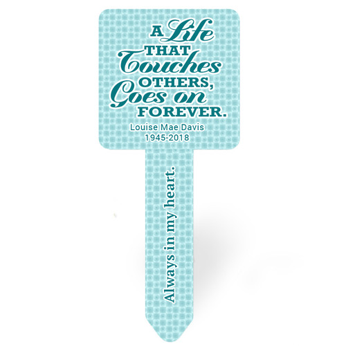 Teal Dots Personalized Memorial Garden Plant Stake