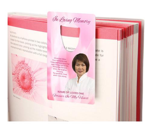 Pink Passion Aluminum Metal Memorial Bookmark With Poem