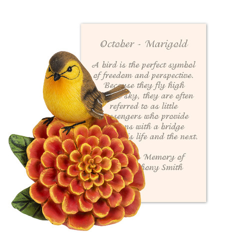 October Marigold and Bird Sympathy Figurine and Card