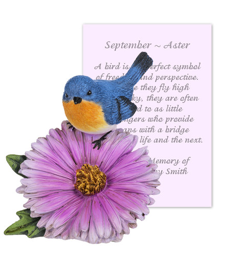 September Aster and Bird Sympathy Figurine and Card