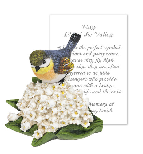 May Lily of the Valley and Bird Sympathy Figurine and Card