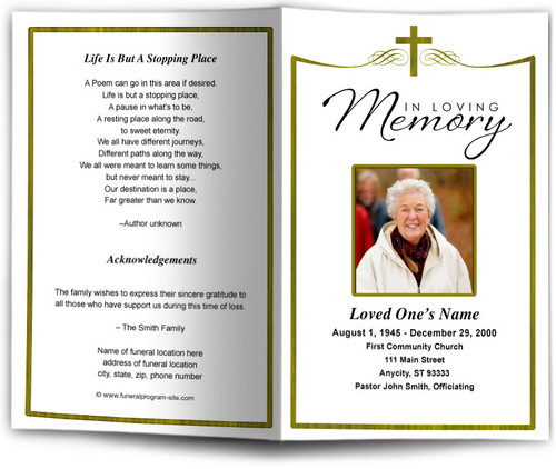 Remembrance Funeral Program Template gold