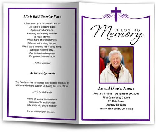 Remembrance Funeral Program Template purple