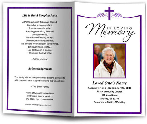 Remembrance Funeral Program Template purple