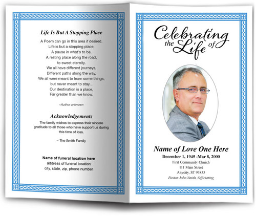 Romans Funeral Program Template blue