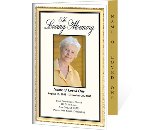24K 4-Sided Graduated Funeral Program Template