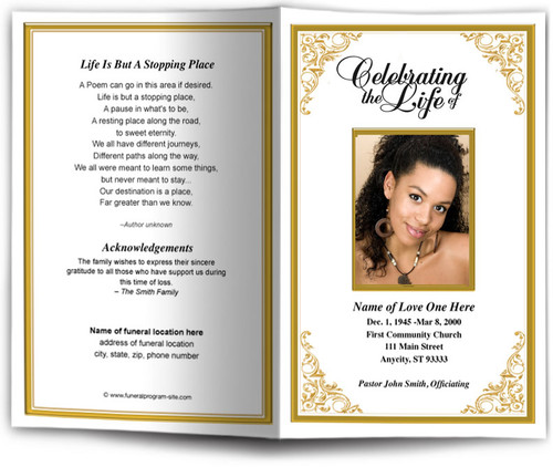 gold Tribute Funeral Program Template