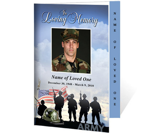 Army 4-Sided Graduated Funeral Program Template