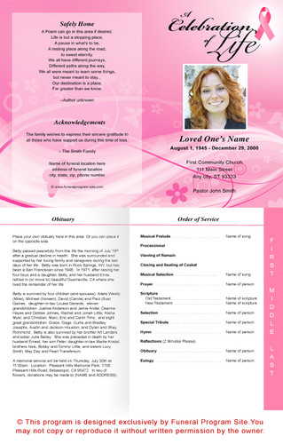 Awareness 4-Sided Graduated Funeral Program Template
