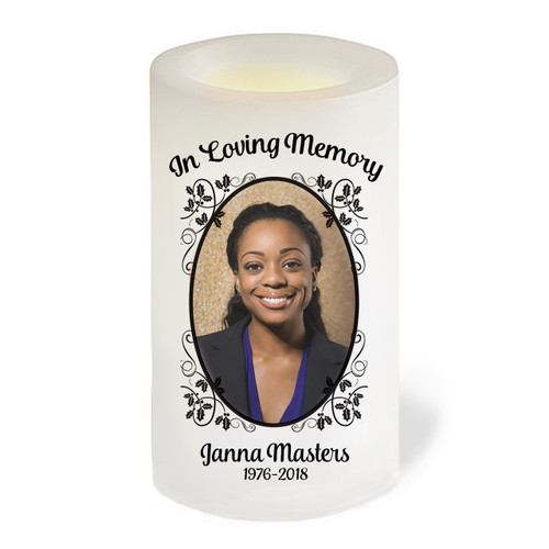 Flourish Leaves Flameless LED Memorial Candle
