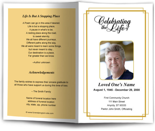 gold Windsor Funeral Program Template
