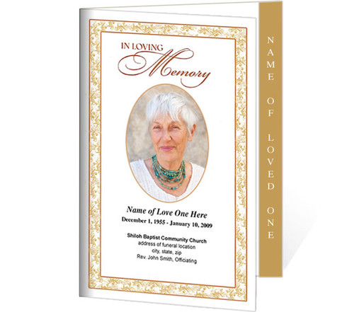 Caramel 4-Sided Graduated Funeral Program Template