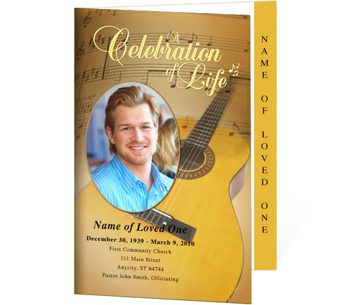 Guitar 4-Sided Graduated Funeral Program Template