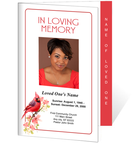Cardinal 4-Sided Graduated Funeral Program Template