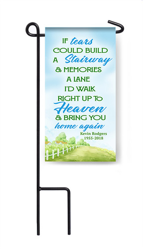 Personalized If Tears Stairway Mini Memorial Flag With Stand