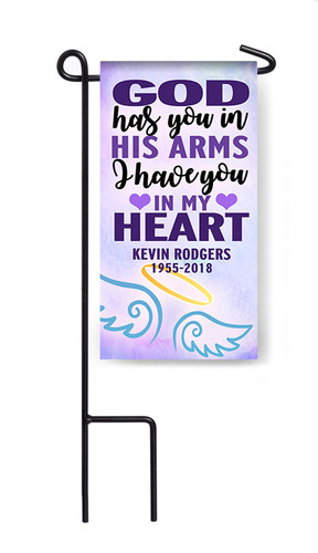 Personalized God Has You Mini Memorial Flag With Stand