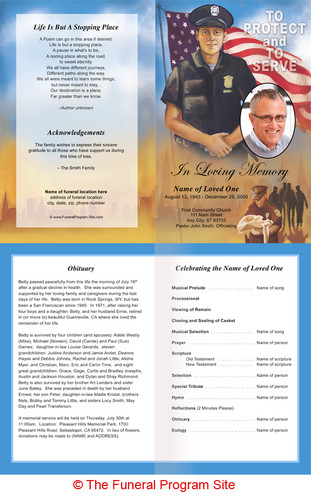 Inside policeman funeral program template design