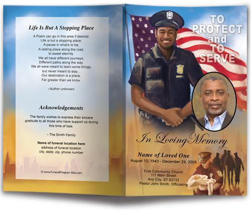 African American policeman funeral program template design