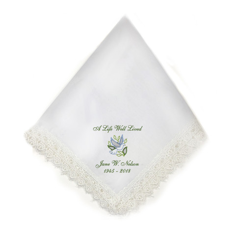 dove lace trim memorial personalized handkerchief