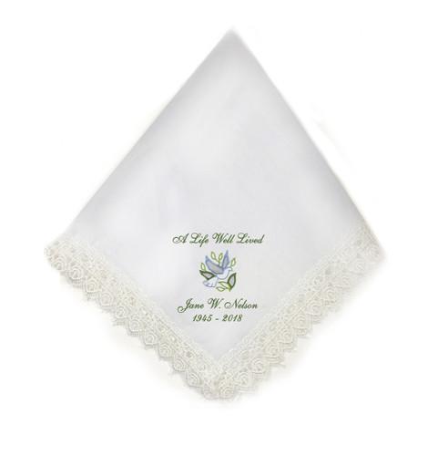 dove lace trim memorial personalized handkerchief