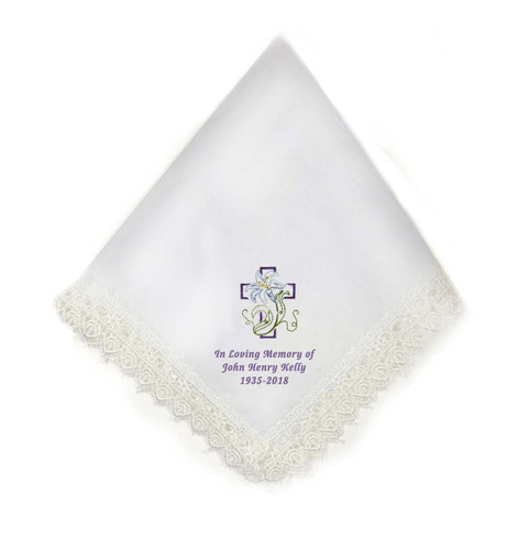 cross lily personalized handkerchief for memorial