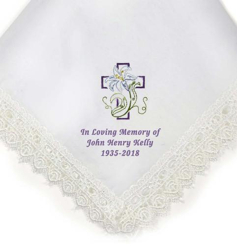 cross lily personalized handkerchief closeup