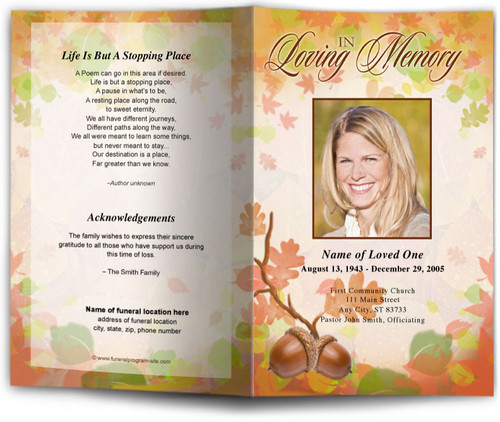 Autumn Funeral Program Template