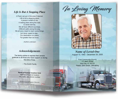 Big Rig Funeral Program Template