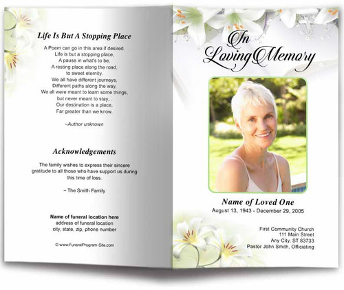 White Lilies Funeral Program Template
