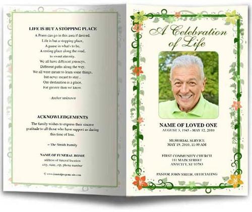 Vines Funeral Program Template