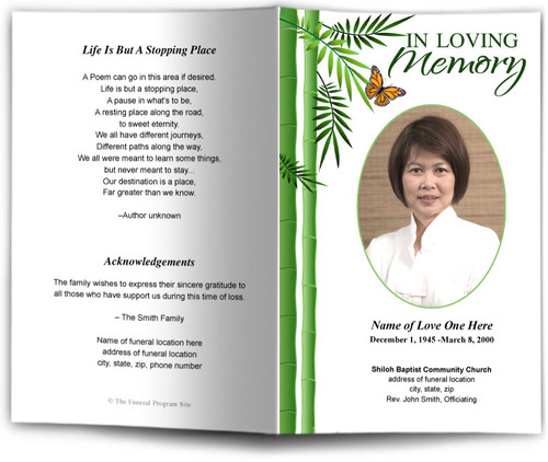 Bamboo Funeral Program Template