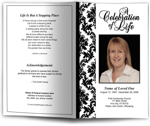Damask Funeral Program Template