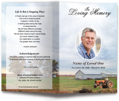 Farm Funeral Program Template