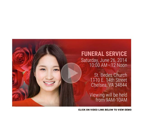 Red Roses Social Media Funeral Service Announcement