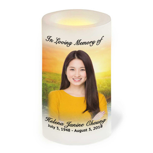 Sunset Wrap Flameless LED Memorial Candle front view