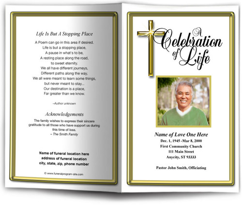 Embassy Funeral Program Template gold