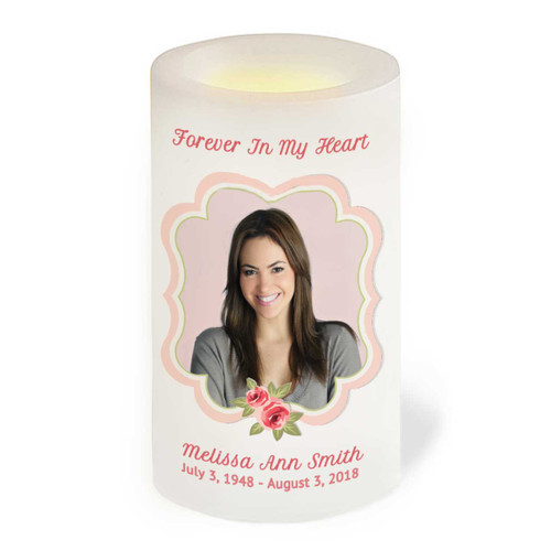karissa Flameless LED Memorial Candle front view