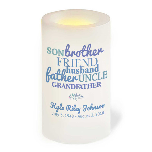 Son Brother Father Flameless LED Memorial Candle front view