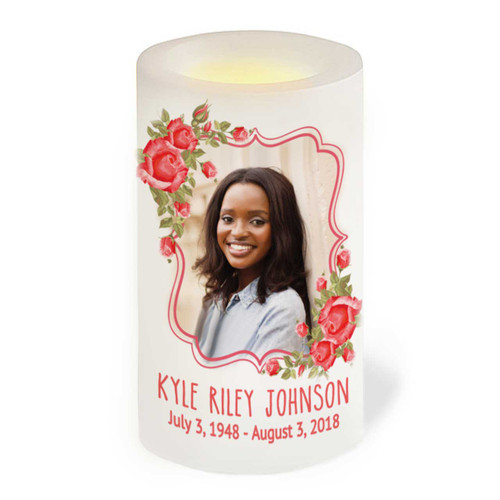 Red Roses Flameless LED Memorial Candle front view