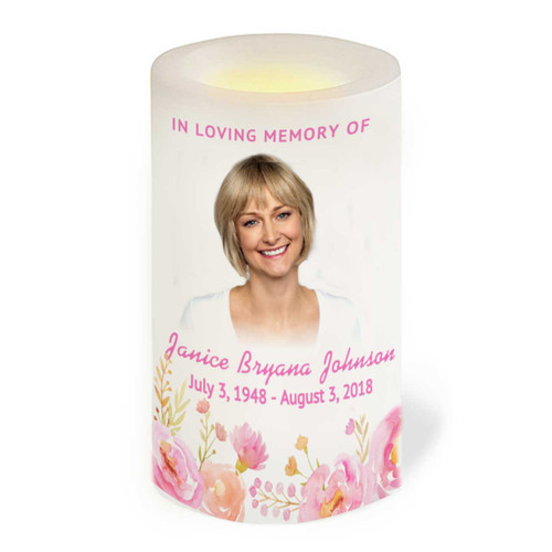 Springtime Flameless LED Memorial Candle front